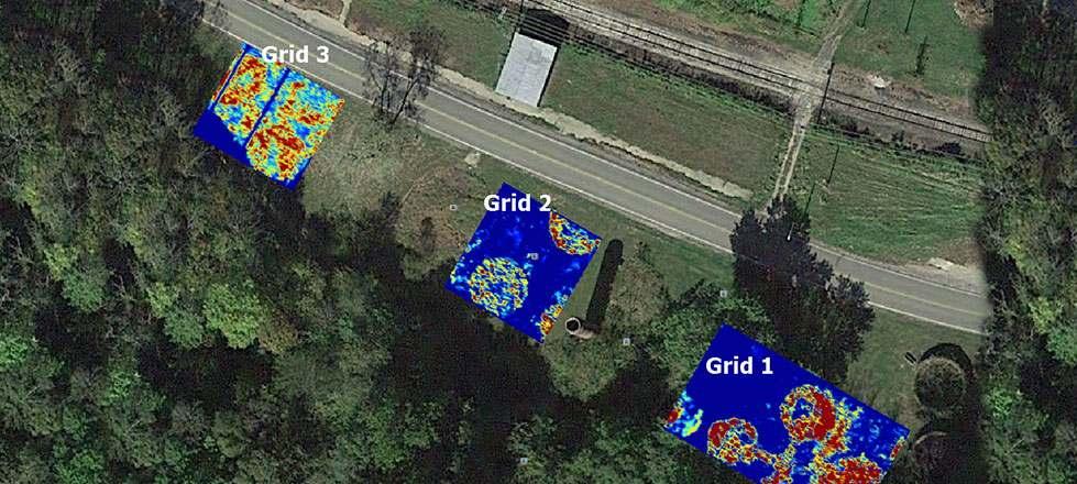 GPR survey Depth slices on Google Earth