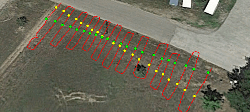 A map view of the data on Google Earth