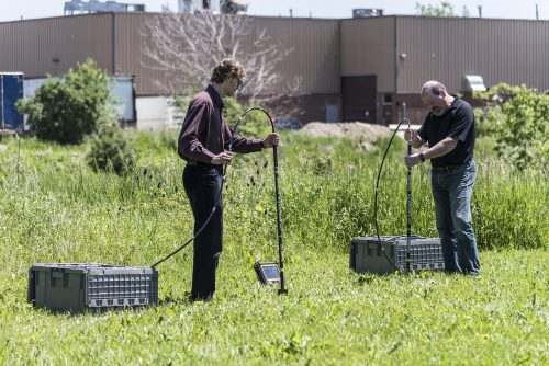 One-way measurements between boreholes and borehole-to-surface measuring velocity and attenuation; providing a unique option for using GPR in electrically-conductive soils.