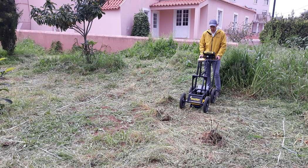 man surveying ground using noggin gpr