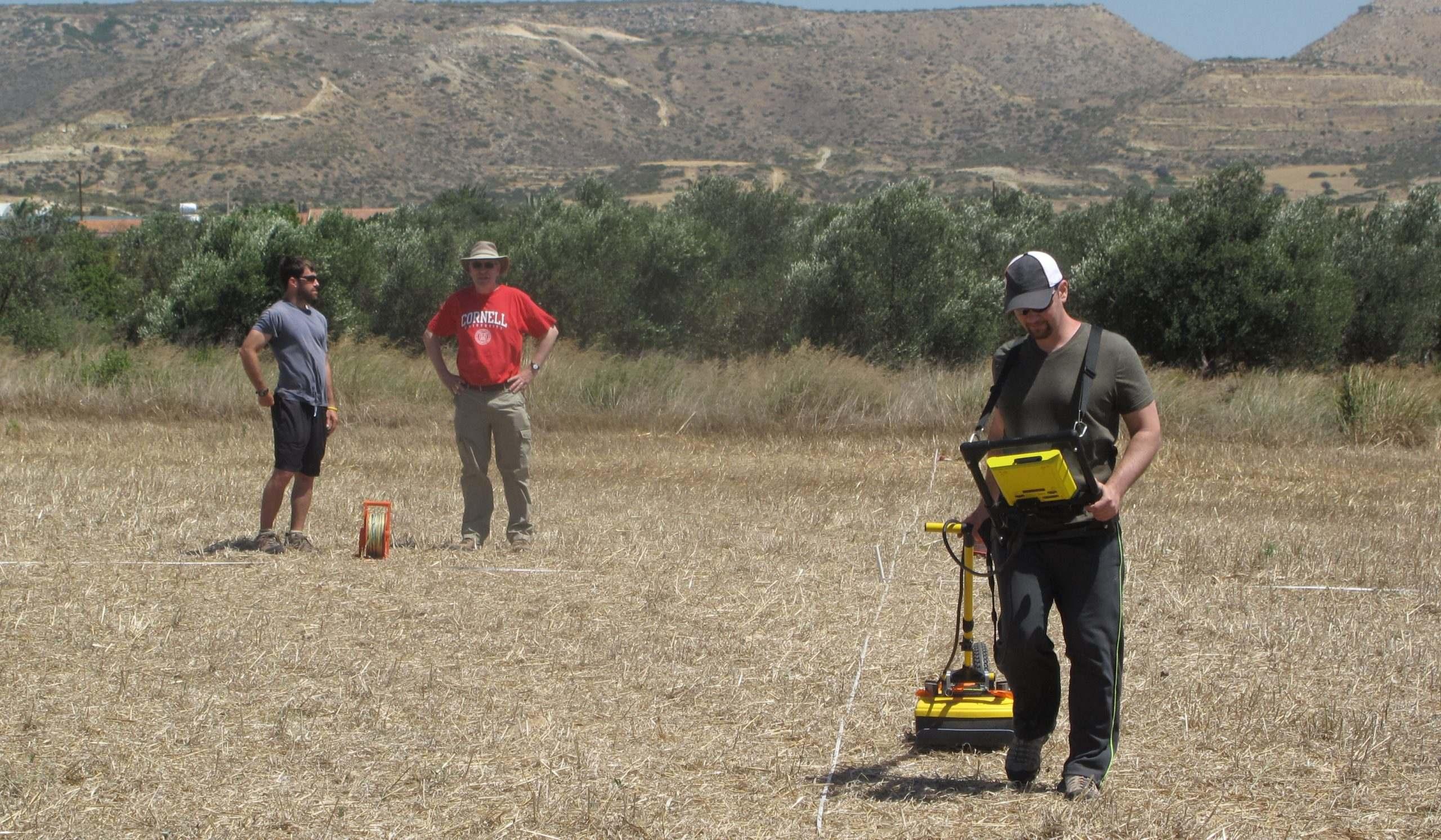 3 men performing gpr survey using noggin gpr